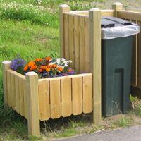 Søppelboksskjuler med blomsterkasse